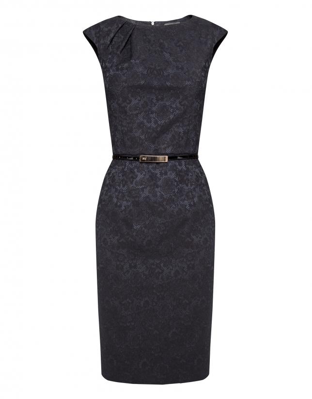 Vestido pliegue en cuello tejido relieve flores negro