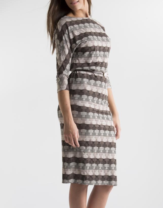Robe marron en maille, imprimé géométrique