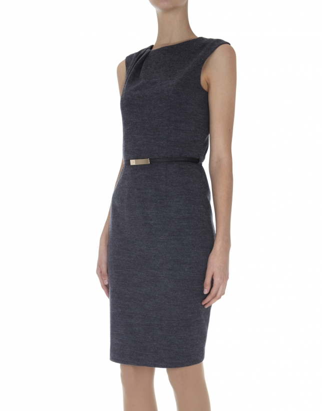 Grey dress with folds on neckline