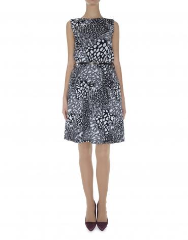 Vestido sin mangas tejido punto print animal grises