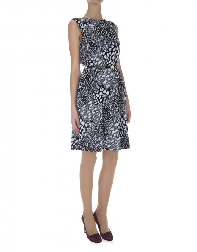 Gray animal print knit dress