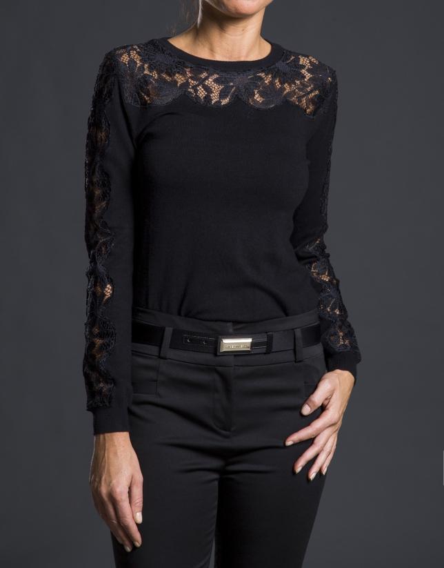 Black crocheted knit sweater