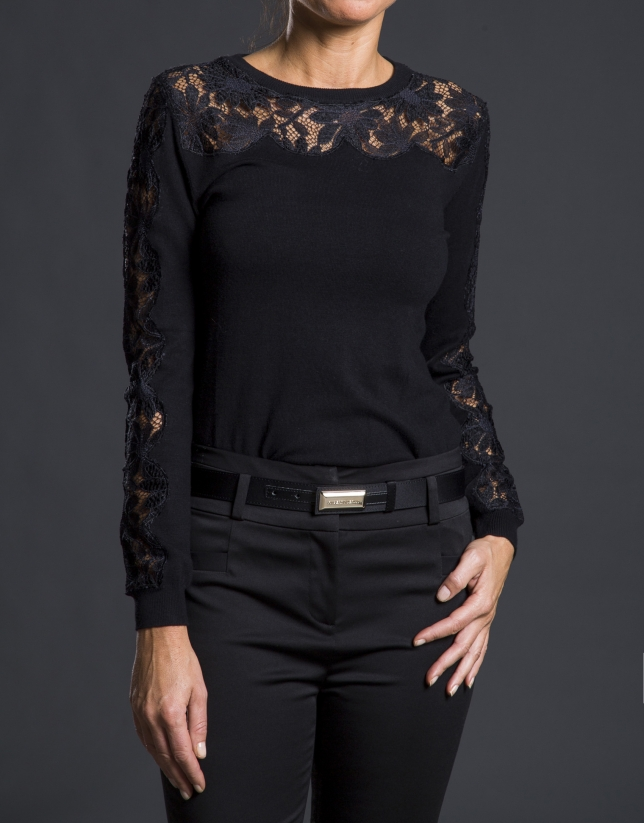 Jersey negro punto crochet