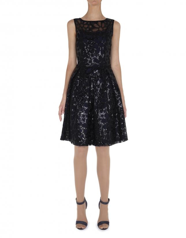 Vestido recto sin mangas tejido flores con lentejuelas negro y encaje en hombros