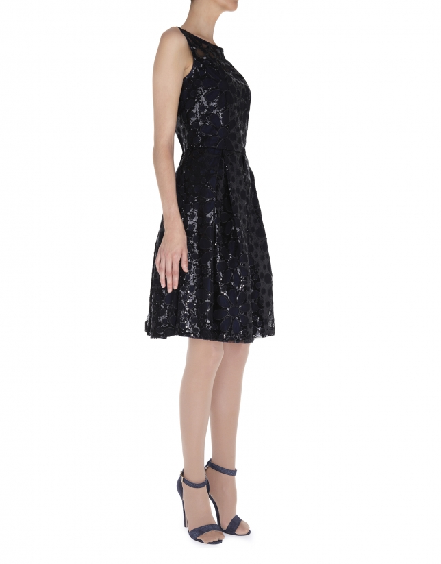 Black sequined dress with lace shoulders