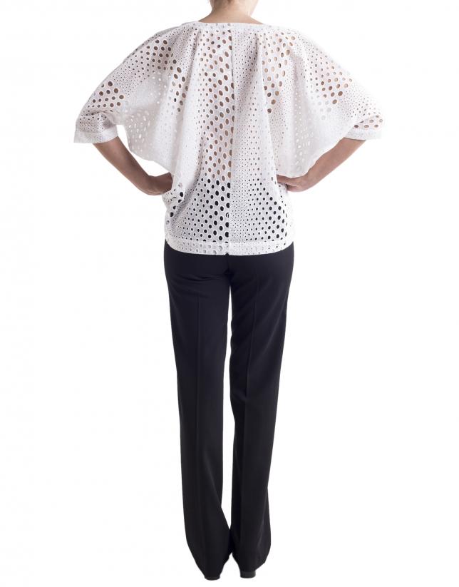 White openwork loose shirt
