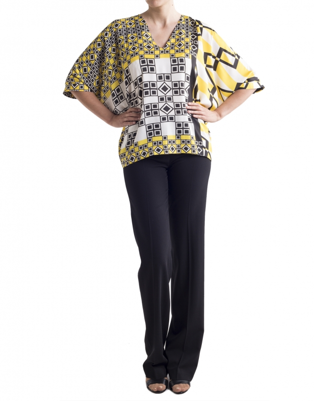 Yellow geometric print loose shirt