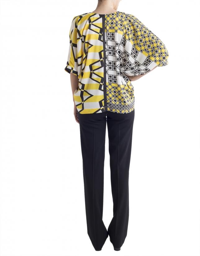 Blusón estampado geométrico amarillo