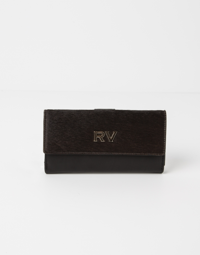 Black wallet with brown fur.