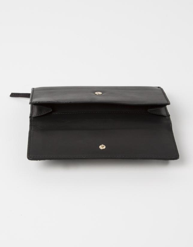 Portefeuille cuir vachette noir poil marron.