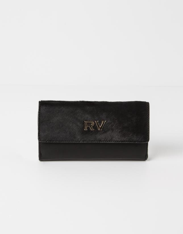 Portefeuille cuir vachette noir poil noir
