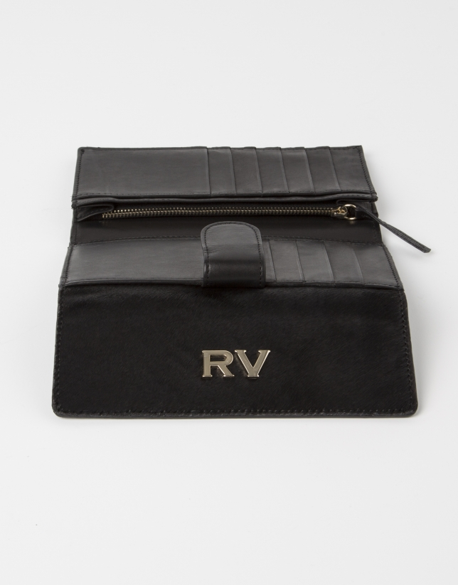 Black wallet with black fur.