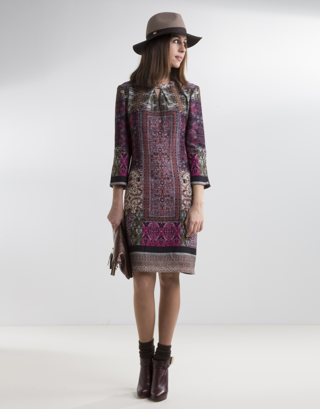 Aubergine patchwork dress