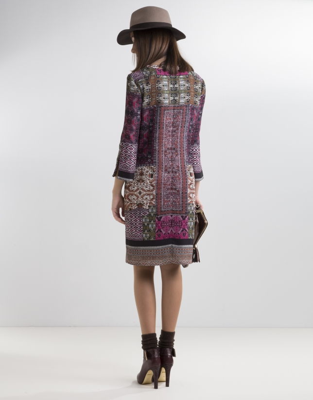 Aubergine patchwork dress