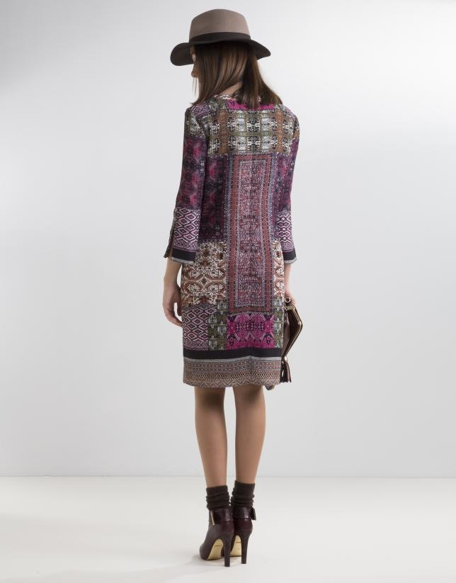 Vestido patchwork berenjena