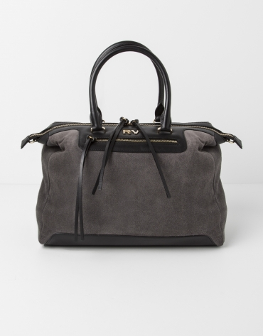 Gray suede satchel