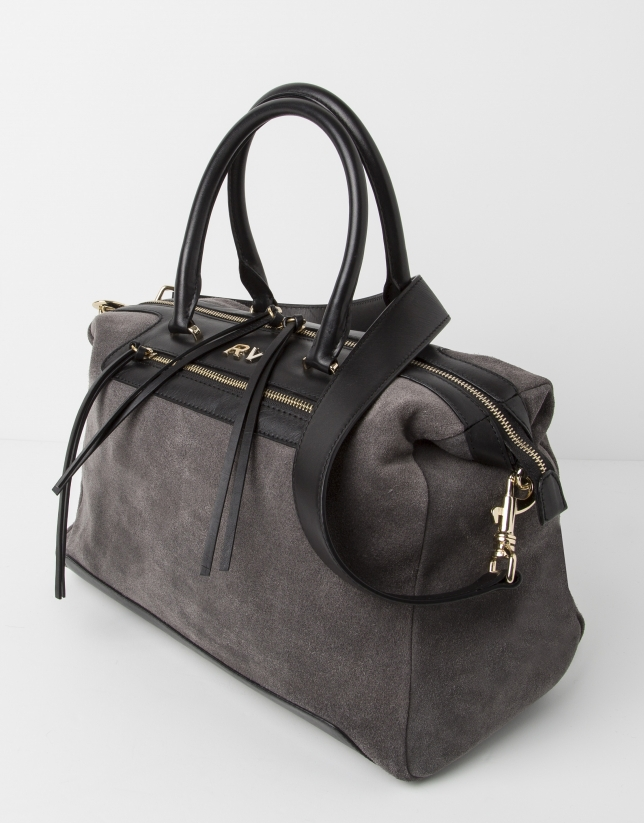 Grey suede satchel