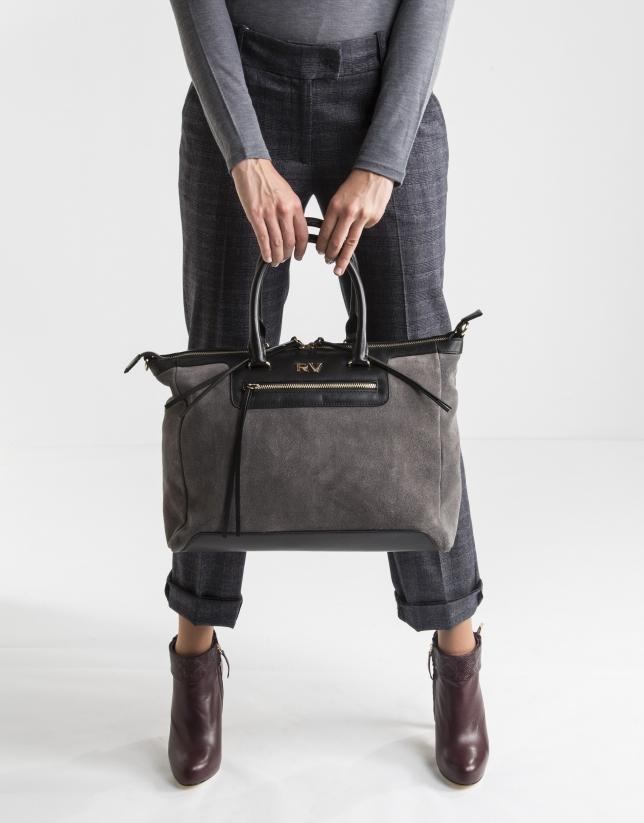 Grey suede satchel