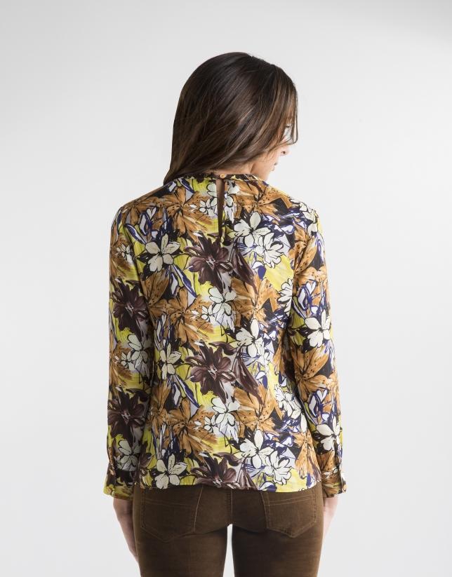 Blusa estampado floral mostaza