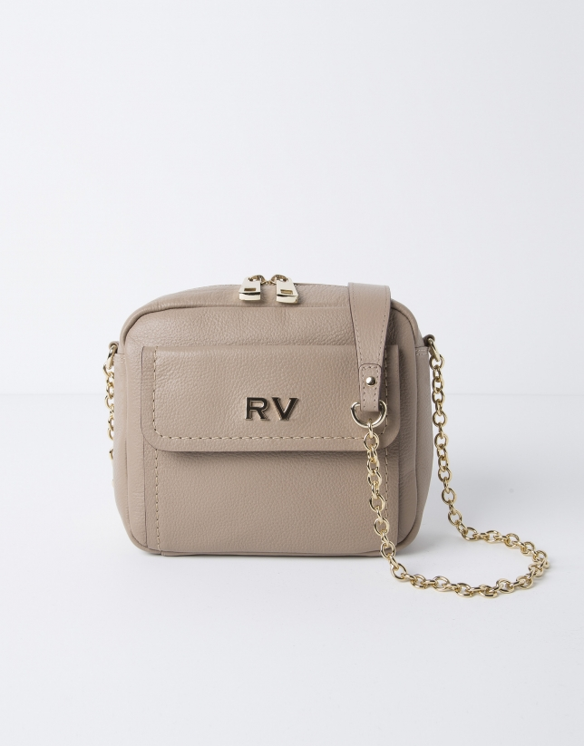 Beige shoulder bag