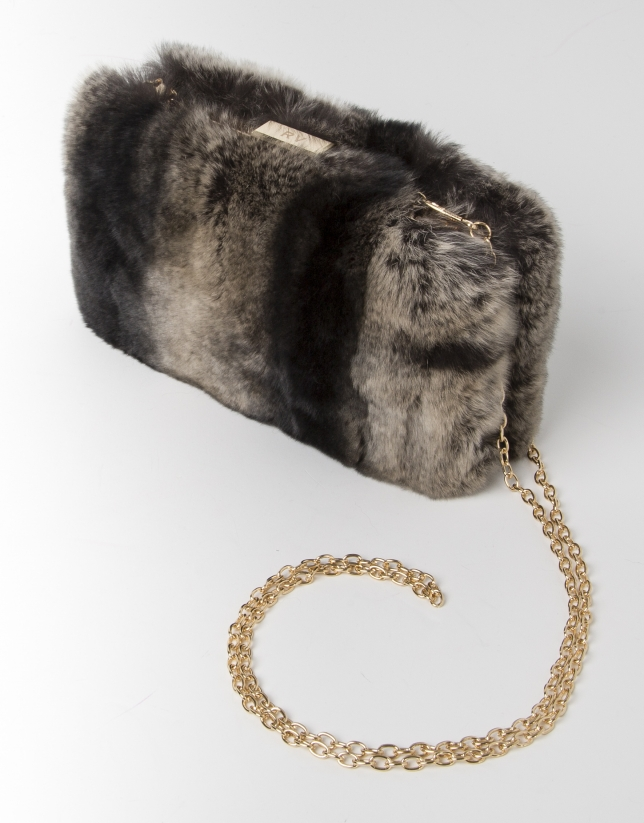 Grey fur clutch