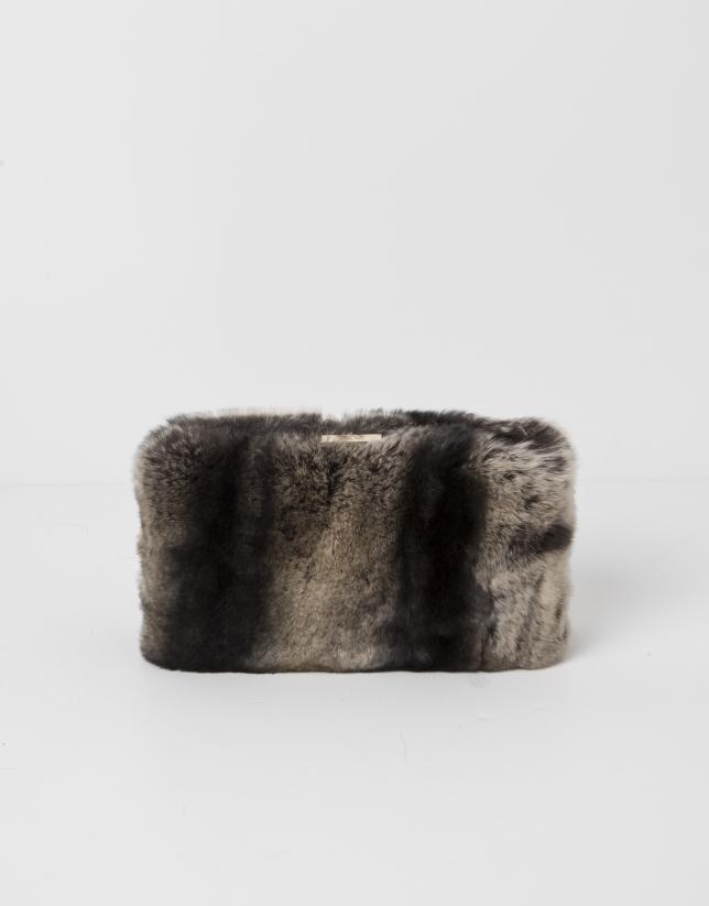 Sac Clutch fourrure gris