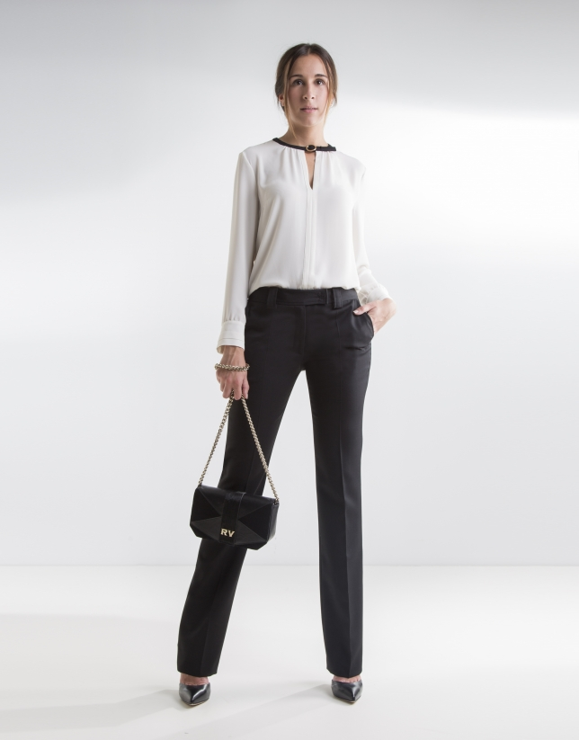 Beige blouse with buckle
