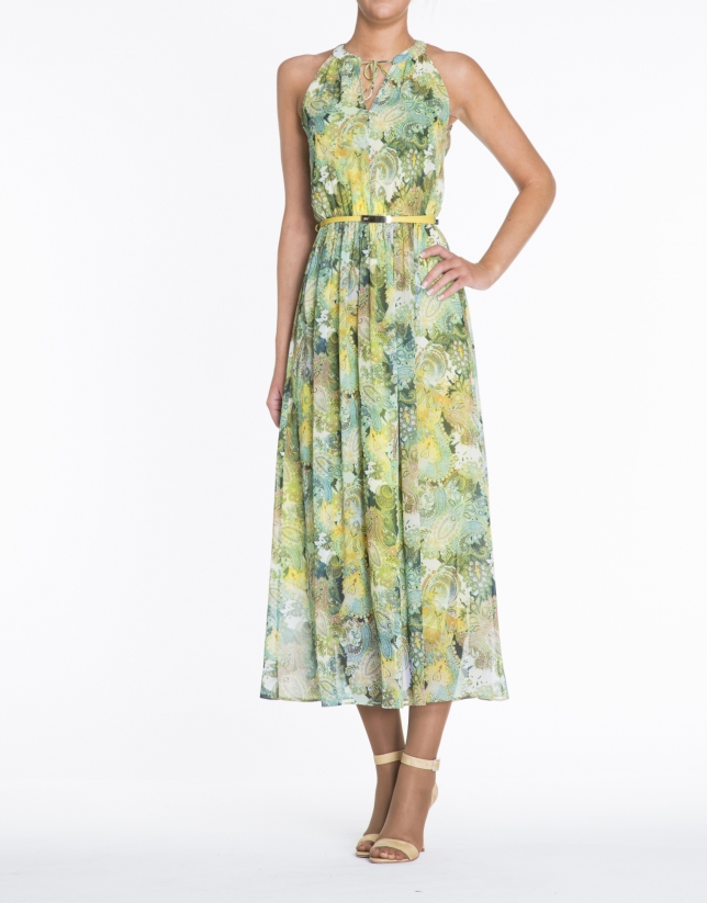 Green and yellow sleeveless print dress.
