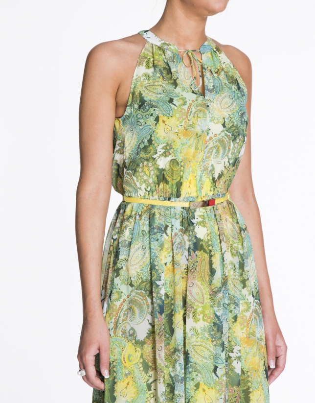 Green and yellow sleeveless print dress.