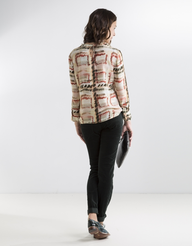 Red print blouse