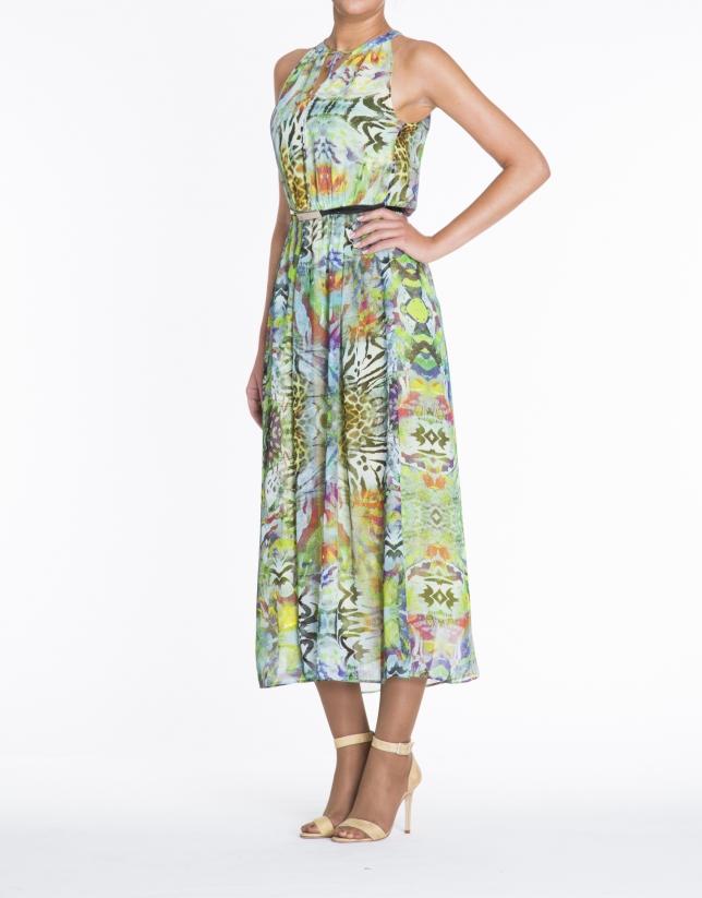 Green sleeveless print dress.