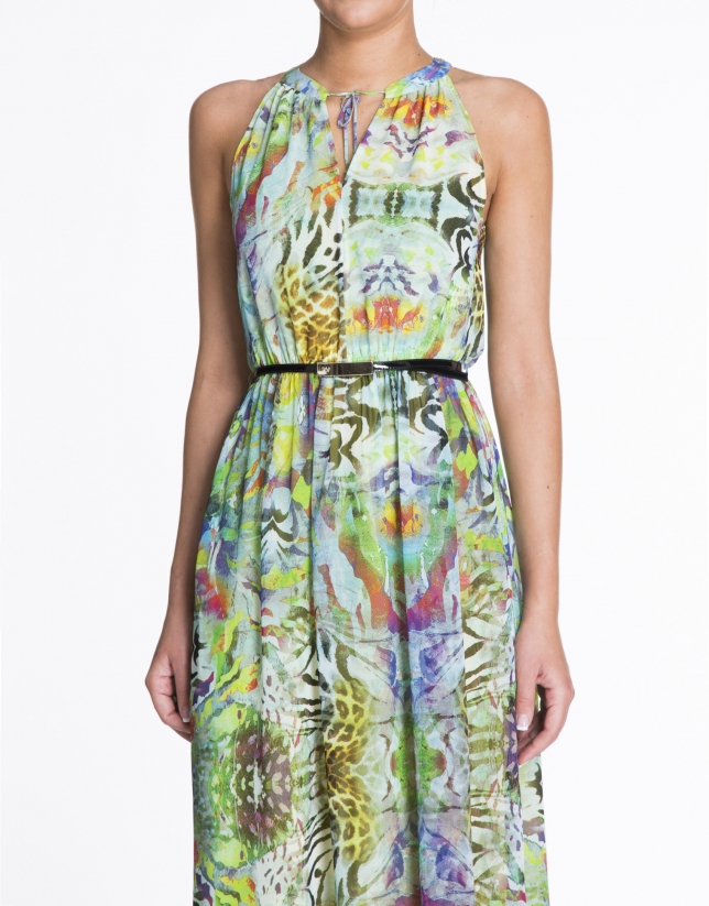 Green sleeveless print dress.