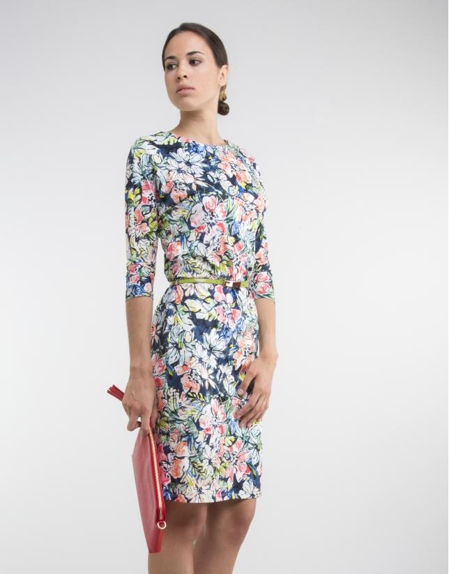 Blue print knit dress