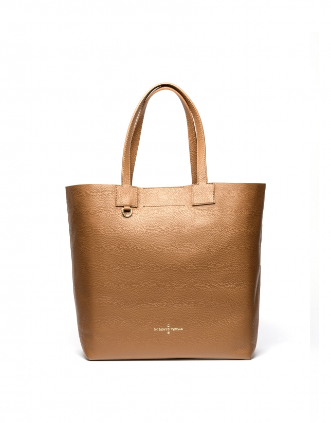 Tan leather Uve shopping bag