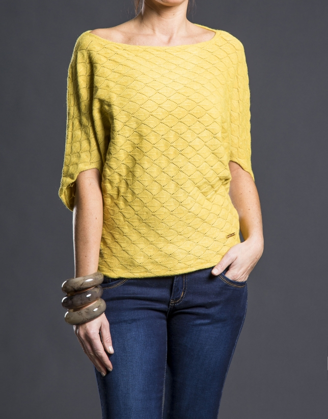 Pull nid d'abeille moutarde