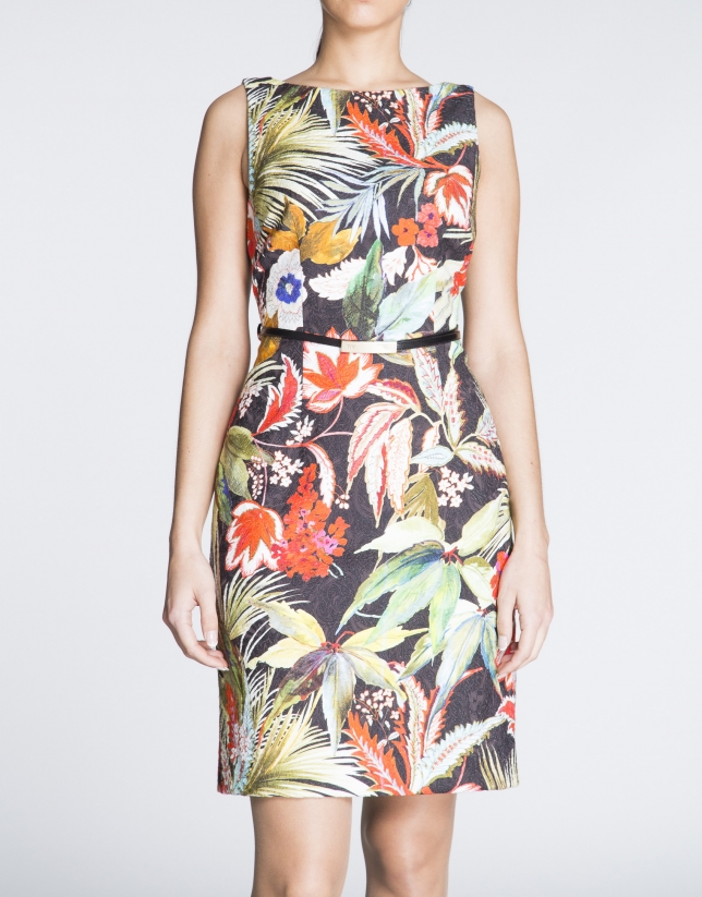 Black sleeveless dress with plant print.