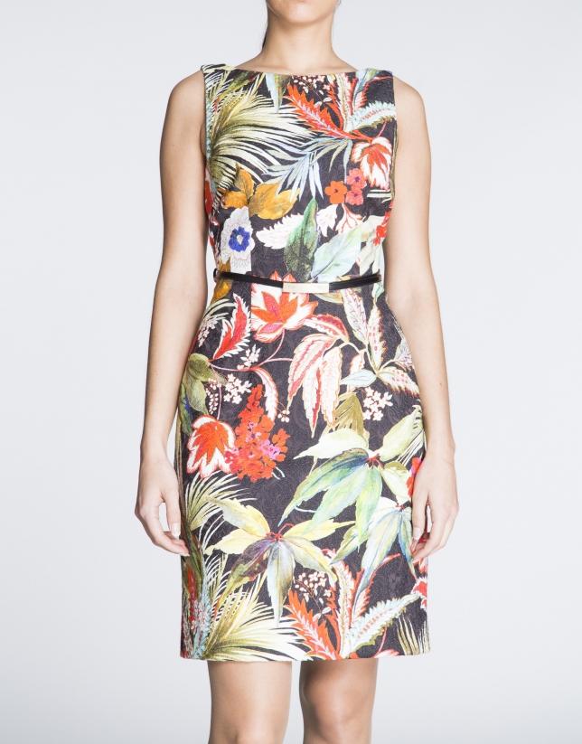 Black sleeveless dress with plant print.