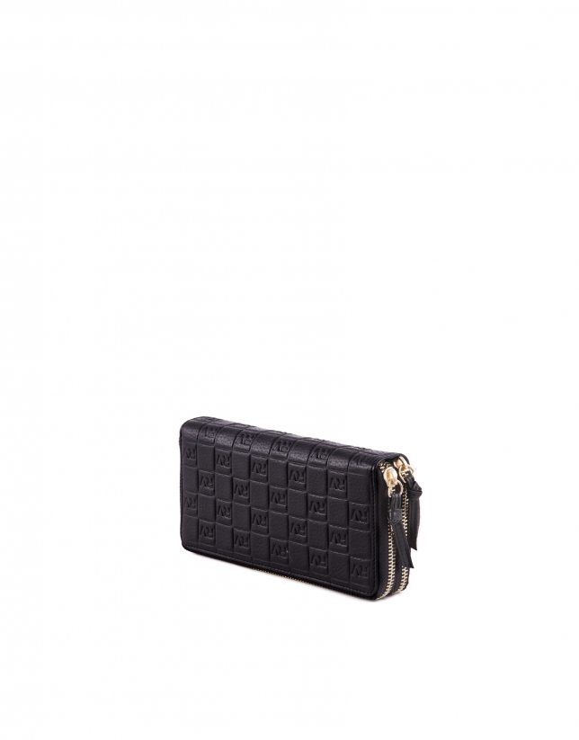 Double zippered black leather wallet.