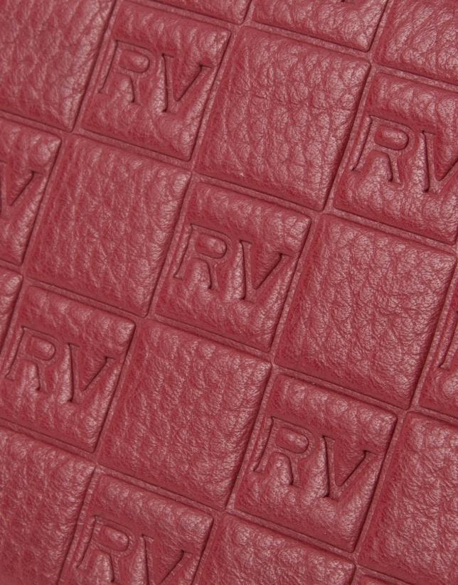 Porte-feuille à logos rouge, double fermeture à glissière