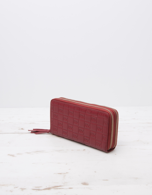 Red double zipper billfold with logo