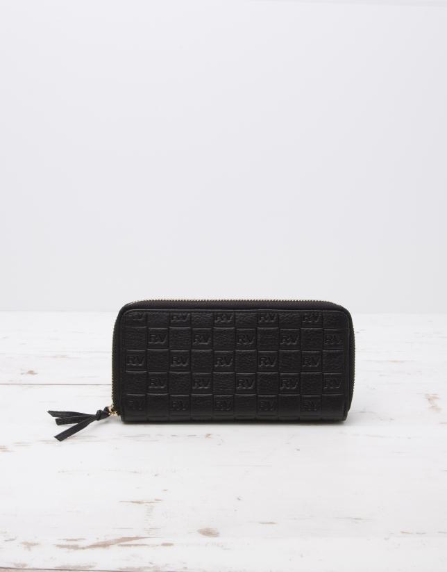 Portefeuille cuir vachette noir, double fermeture à glissière