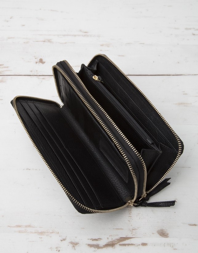 Black cowhide leather billfold with double zipper