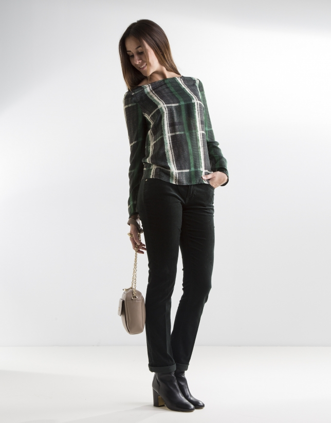 Green checked blouse