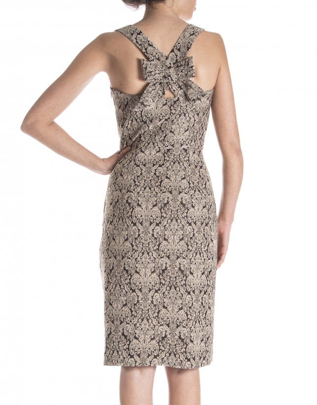 Jacquard dress with straps across back