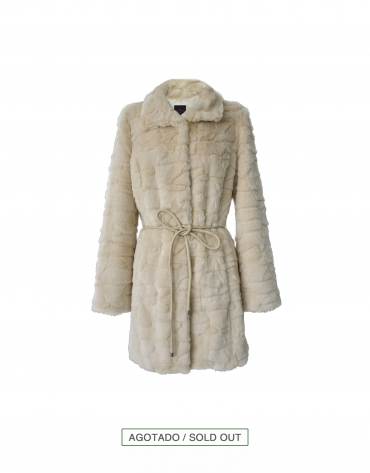 Beige faux-rabbit coat