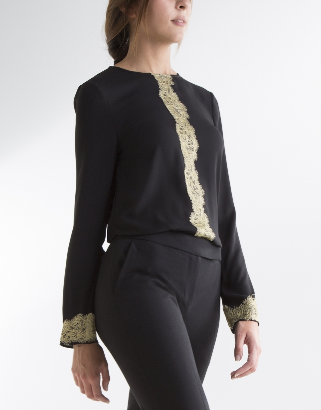 Black blouse with lace