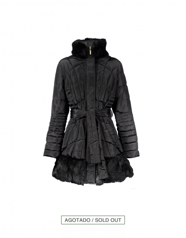 Black quilted coat with fur