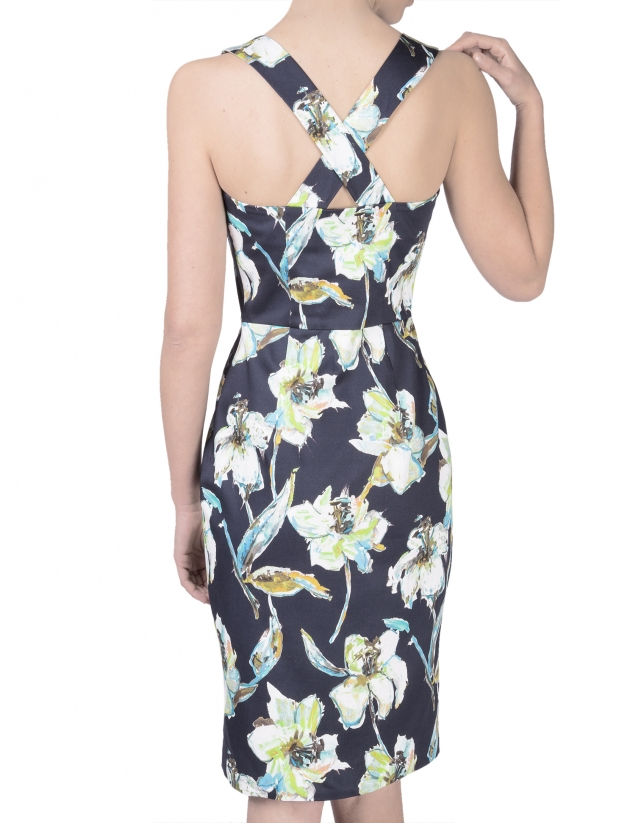 Floral print dress with straps across back