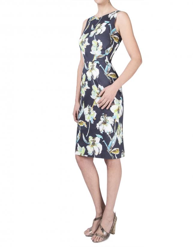 Vestido floral tiras espalda