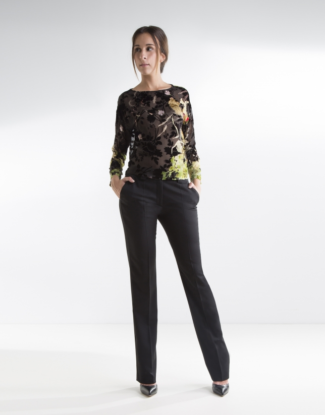 Floral t-shirt with transparencies